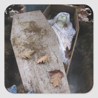 A Grave Ghoul on Halloween - photograph Square Sticker