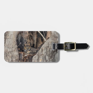 A Great Horned Owl blending in Bag Tags