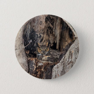 A Great Horned Owl blending in Pinback Button
