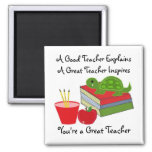 A Great Teacher 2 Inch Square Magnet