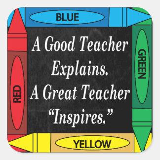 A Great Teacher Inspires Square Sticker