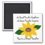 A Great Teacher Sunflower Design 2 Inch Square Magnet
