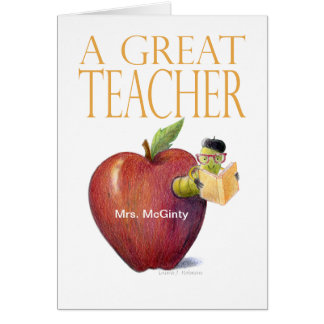 A Great Teacher Thank You Worm in Apple Customize Card