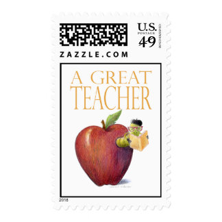 A Great Teacher Worm in Apple Postage