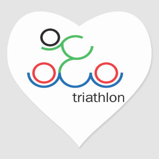 A great Triathlon gift for your friend or family Heart Sticker