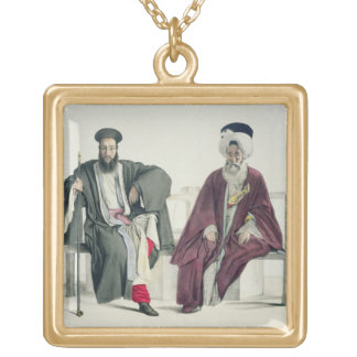 A Greek Priest and a Turk, engraved by the Thierry Square Pendant Necklace