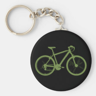 a green bicycle basic round button keychain