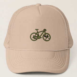 a green bicycle trucker hat