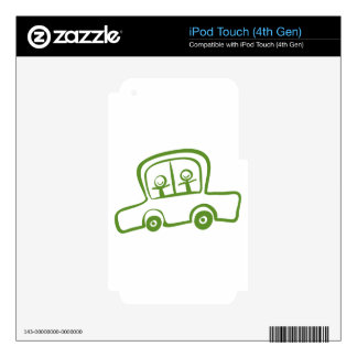 A green car with two kids riding iPod touch 4G skins