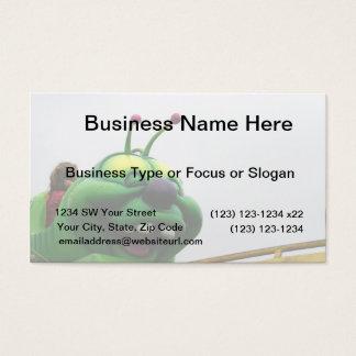 A green caterpillar goofy fair ride image business card