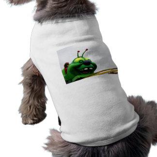 A green caterpillar goofy fair ride image doggie tee shirt