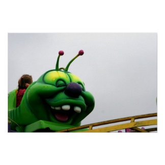 A green caterpillar goofy fair ride image poster