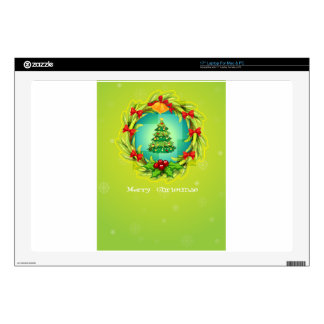 """A green christmas card template decal for 17"""" laptop"""