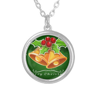 A green christmas card template with bells and a p silver plated necklace