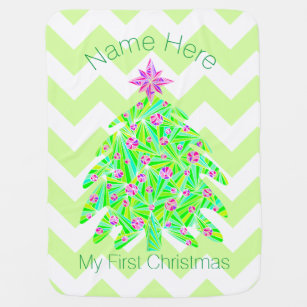 a green christmas tree add name my 1st christmas swaddle blanket