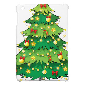 A green christmas tree with sparkling lights cover for the iPad mini