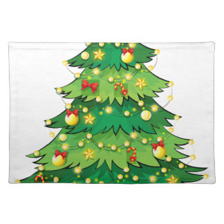 A green christmas tree with sparkling lights placemat