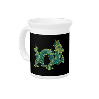 A Green Dragon with Gold Trim Pitcher