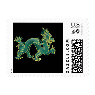 A Green Dragon with Gold Trim Postage Stamp