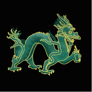 A Green Dragon with Gold Trim Statuette