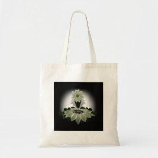 A Green Flower on Black Background Budget Tote Bag