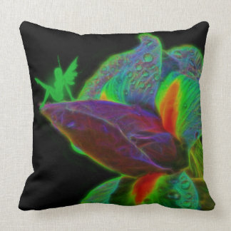 A green Iris, and the pixie,throw pillow