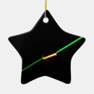 A green laser penetrating a dark colored glass. ceramic ornament