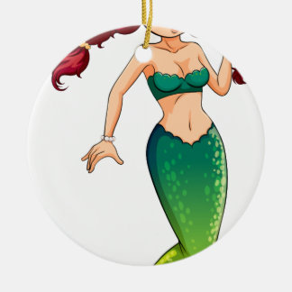 A green mermaid Double-Sided ceramic round christmas ornament