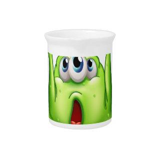 A green monster carrying a box pitcher