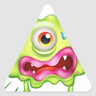 A green monster in frustration triangle sticker