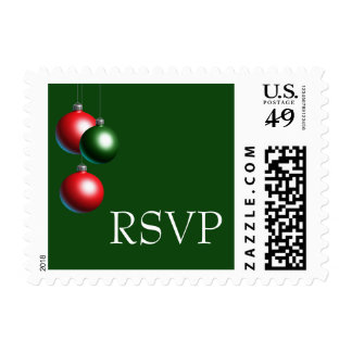 A Green Ornament Holiday RSVP Stamp