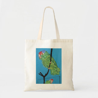 a green parrot tote bag