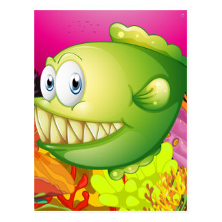 A green piranha postcard