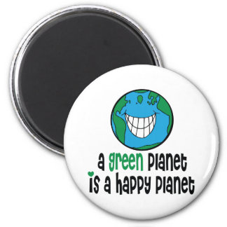 A Green Planet is a Happy Planet 2 Inch Round Magnet