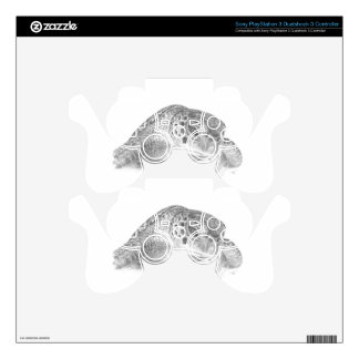 A Green Sea Turtle in Grayscale Decal For PS3 Controller