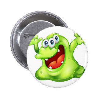 A green slime monster 2 inch round button