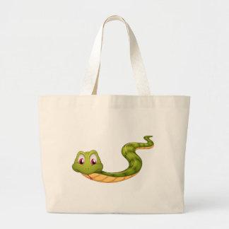 A green snake jumbo tote bag