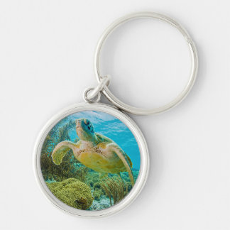A Green Turtle On The Shallow Reefs Of Bonaire Keychain