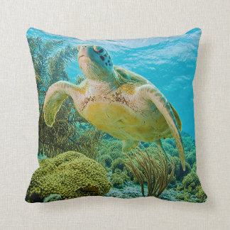A Green Turtle On The Shallow Reefs Of Bonaire Throw Pillow