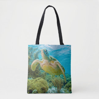 A Green Turtle On The Shallow Reefs Of Bonaire Tote Bag