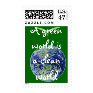 A green world is a clean world postage