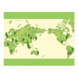 A Greener World Map Postcard