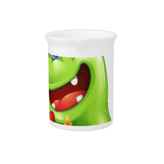 A greenslime monster celebrating a birthday pitcher