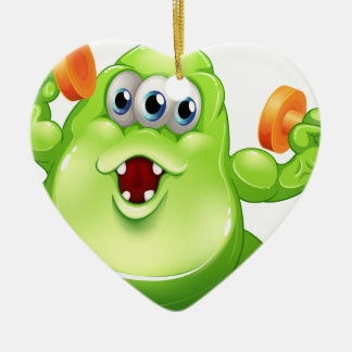 A greenslime monster with orange dumbbells Double-Sided heart ceramic christmas ornament