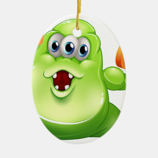 A greenslime monster with orange dumbbells Double-Sided oval ceramic christmas ornament
