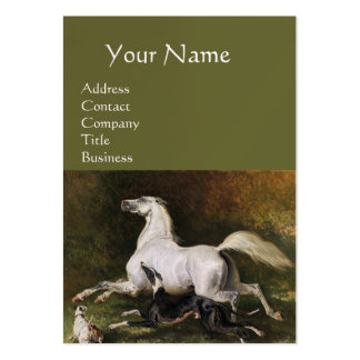 A Grey Arab Stallion Galloping With Dogs, Green Large Business Card