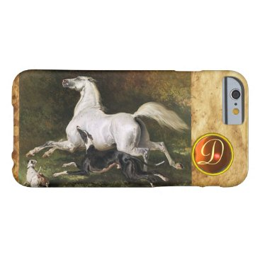 Professional Business A Grey Arab Stallion Galloping With Dogs Monogram Barely There iPhone 6 Case