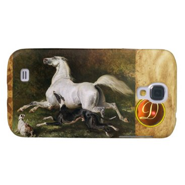 Professional Business A Grey Arab Stallion Galloping With Dogs Monogram Galaxy S4 Case