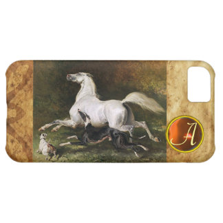 A Grey Arab Stallion Galloping With Dogs Monogram iPhone 5C Covers