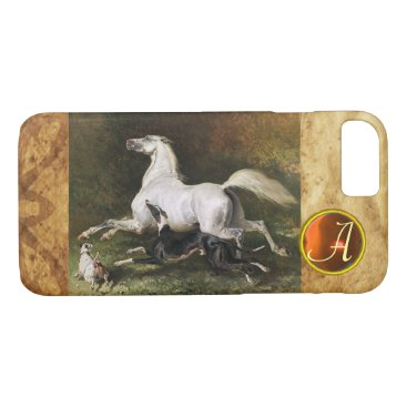 Professional Business A Grey Arab Stallion Galloping With Dogs Monogram iPhone 8/7 Case